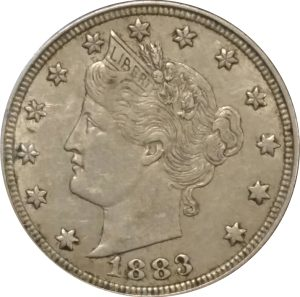 """1883 """"No CENTS"""" 5c Liberty Nickel - VF or Better"""