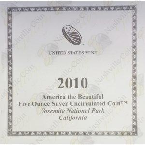 2010-P America the Beautiful 5 oz silver Yosemite National Park (Specimen finish)