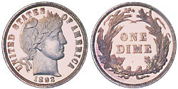 Barber Dime- rare coins- sell to Nashville Coin Gallery