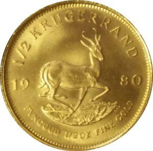 South African Krugerrand 1/2 oz gold bullion coin