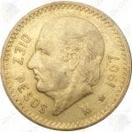 Mexico 10 pesos (circulated) -- .2411 oz pure gold