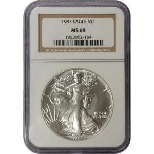 1987 American Silver Eagle - 1 oz - NGC MS69