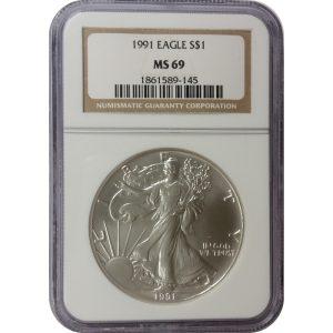 1991 American Silver Eagle - 1 oz - NGC MS69