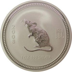 2008 Australian Lunar Series Mouse 1oz silver coin