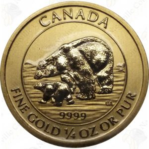 2015 Canada 1/4 oz .9999 Fine Gold Polar Bear with Cub (Sealed)