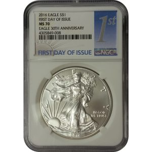 2016 American Silver Eagle - 1 oz - 1st Day - NGC MS70 - Nashville Coin Gallery