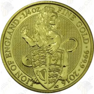 2016 Great Britain Queens Beasts - Lion of England 1/4 oz .9999 fine gold