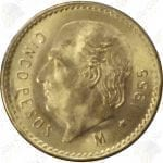 Mexico 5 Pesos gold -- .1205 oz pure gold -- average circulated