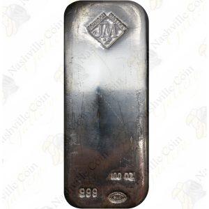 Johnson Matthey 100 oz .999 fine silver bar
