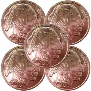 1 oz .999 Fine Copper Buffalo Rounds - 5 pc lot