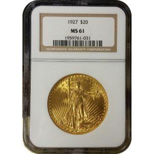 US $20 Saint Gaudens - MS61 (PCGS or NGC)