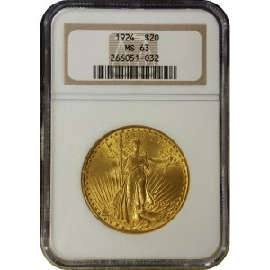 US $20 Saint Gaudens - MS63 (PCGS or NGC)