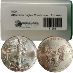 2015 American Silver Eagles (BU) -- 20 Coin Tube