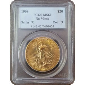 US $20 Saint-Gaudens Gold Double Eagle, PCGS or NGC, MS62