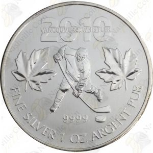 2010 Canada 1 oz Uncirculated silver Olympic Hockey (Impaired)
