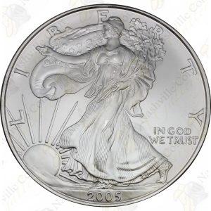 2005 1 oz American Silver Eagle -- BU -- .999 fine silver