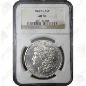 1890-CC Morgan Silver Dollar -- NGC AU58