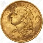 Switzerland 20 Francs -- .1867 oz fine gold