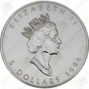 1994 Canada 1 oz .9999 fine silver Maple Leaf