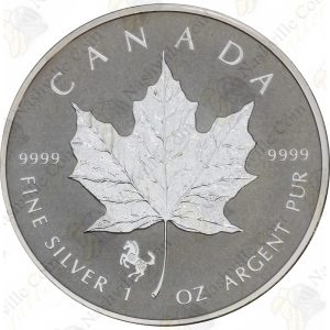 2014 Canada 1 oz Silver Maple Leaf -- horse privy (Reverse Proof)