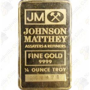 Johnson Matthey 1/4 oz .9999 fine gold bar