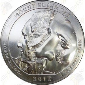 2013 America the Beautiful 5 oz silver Mount Rushmore (BU)