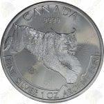 """2017 Canada """"Predators"""" Series 1 oz .9999 fine silver Lynx"""