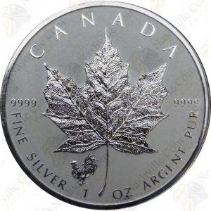 2017 Canada 1 oz Silver Maple Leaf -- Rooster Privy Mark