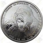 2015 Congo 1 oz .999 fine silver Silverback Gorilla -- BU