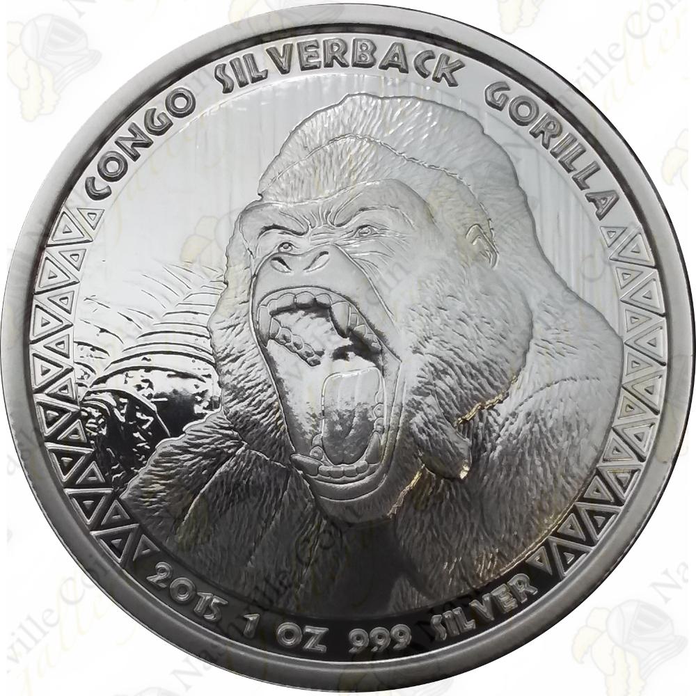 2015 Silverback Gorilla Congo 1oz .999 silver