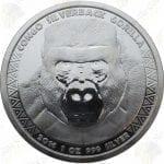2016 Congo 1 oz .999 fine silver Silverback Gorilla -- BU