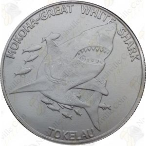 2015 Tokelau 1oz .999 fine silver Great White Shark -- BU