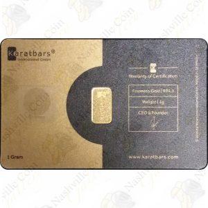 Karatbar -- 1 gram .9999 fine gold (carded)