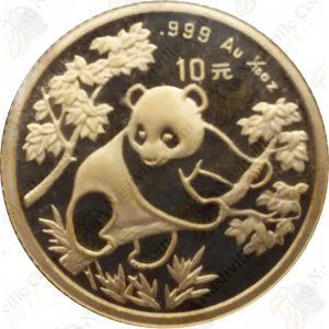 China 1/10 oz .999 fine gold Panda -- random date (Sealed)