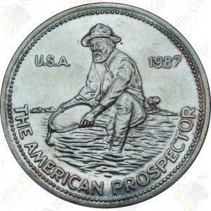 1987 Engelhard 1 oz .999 fine silver Prospector round