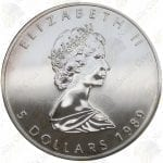 1989 Canada $5 1 oz silver Maple Leaf -- Uncirculated