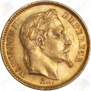 France 20 Francs gold Napoleon -- .1867 oz fine gold (circulated)