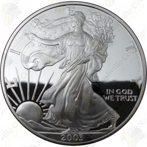 2003 Proof American Silver Eagle with box and COA
