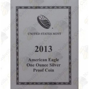 2013 Proof American Silver Eagle with box and COA