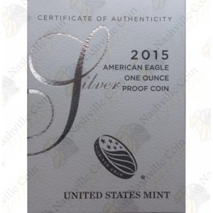 2015 Proof American Silver Eagle with box and COA
