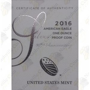 2016 Proof American Silver Eagle with box and COA