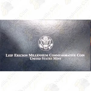 2000 Leif Ericson Commemorative Proof Silver Dollar with box and COA