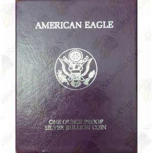 1990 Proof American Silver Eagle with box and COA
