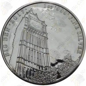 """2017 Great Britain """"Landmarks of Britain"""" 1 oz .999 fine silver Big Ben"""