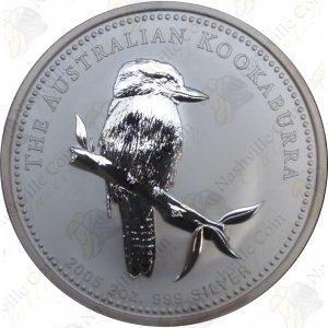 2005 Australia 2 oz .999 fine silver Kookaburra