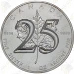 2013 Canada 25th Anniversary 1 oz .9999 fine silver Maple Leaf