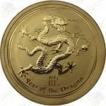2012 Australia 1/2 oz .9999 fine gold Year of the Dragon