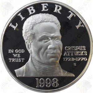 1998 Black Revolutionary War Patriots $1 Proof Silver Dollar
