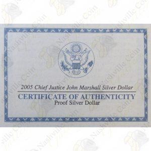 2005 Chief Justice John Marshall Commemorative $1 Proof Silver Dollar