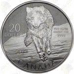 2013 Canada $20 1/4 oz .9999 fine silver wolf